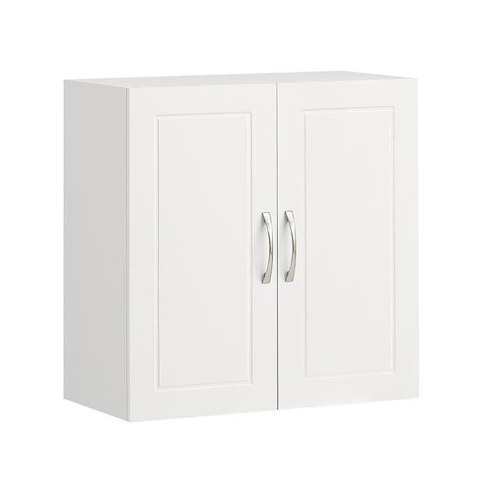 SoBuy® FRG231-W Meuble Haut Armoire de Toilettes Salle de Bain Suspendue  Placard Commode murale – 2 Portes - Blanc