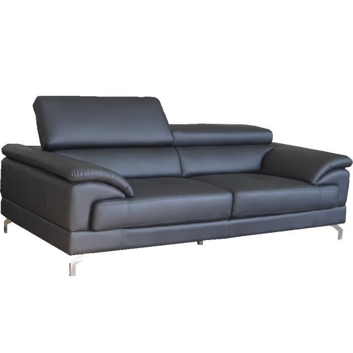 canap fixe 3 places switluxe pavaro cuir gris achat vente canap sofa divan cadeaux. Black Bedroom Furniture Sets. Home Design Ideas