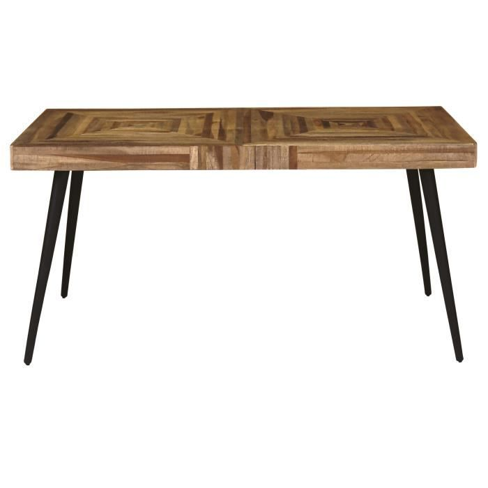 Woody table manger 6 personnes 150x80 cm en m tal et for Table 6 personnes dimensions