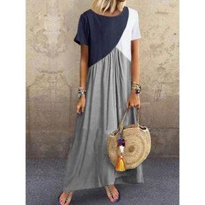 KEERADS Femmes D/écontract/ée Simple Robe Manche Longue O-Cou Couleur Unie Mini Dress avec Poche Grande Taille en Vrac Mince Jupe Longue S-XL