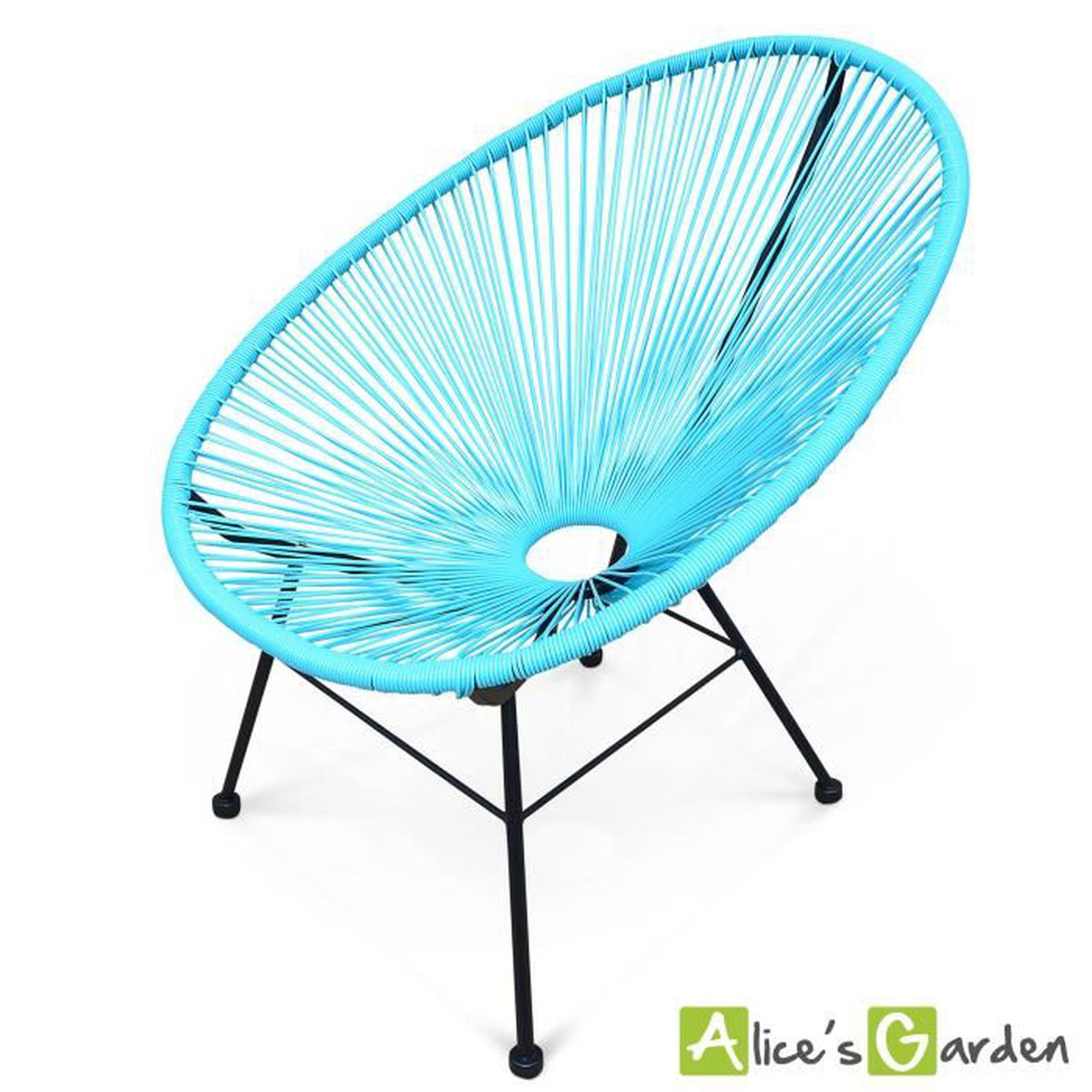 fauteuil acapulco chaise oeuf design r tro cordage turquoise achat vente fauteuil jardin. Black Bedroom Furniture Sets. Home Design Ideas