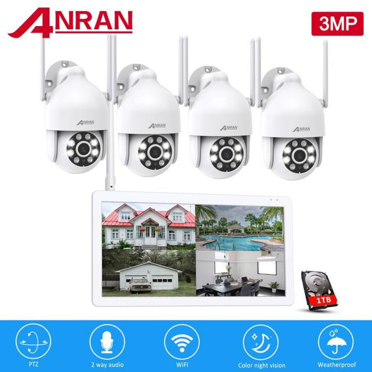 Kit cam ra de surveillance sans fil ext rieur 4ch nvr for Video surveillance exterieur sans fil