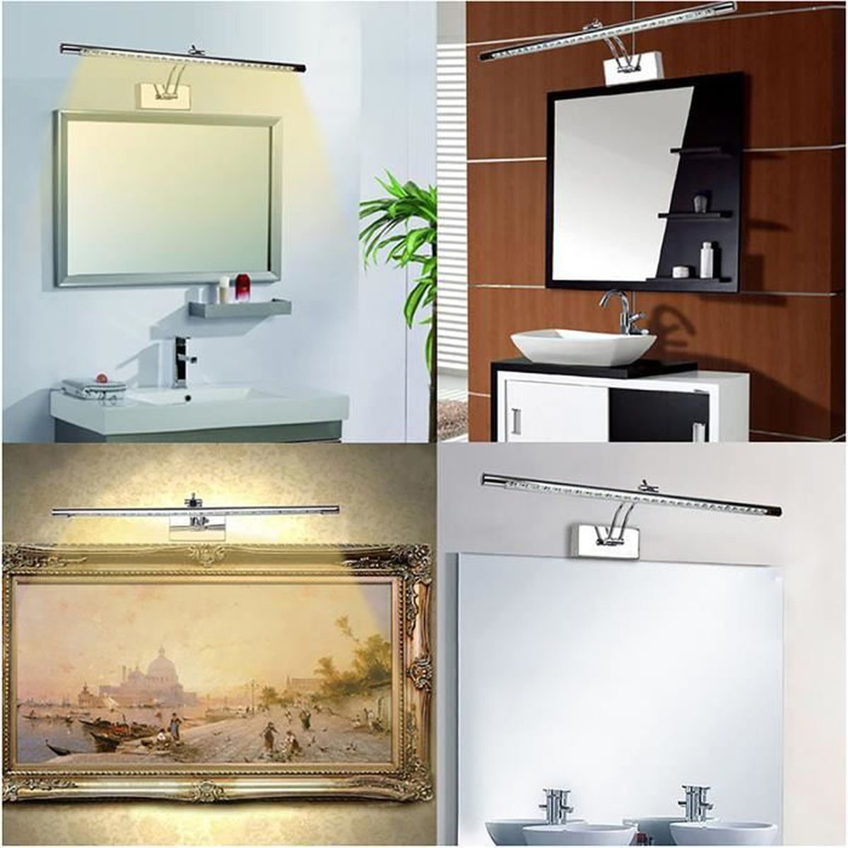 liqoo led lampe de salle de bain miroir mural 5w applique imperm able blanc chaud 290lm 27x smd. Black Bedroom Furniture Sets. Home Design Ideas