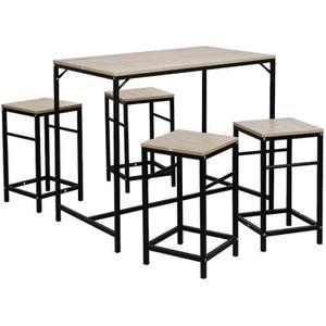 MANGE-DEBOUT Ensemble table de bar bistrot + 4 chaises avec rep