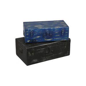 COFFRE - MALLE Lot de 2 malles acier bleu et noir 75 Bicolore