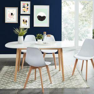 TABLE À MANGER SEULE Table à manger scandinave blanc et bois 160x80x75