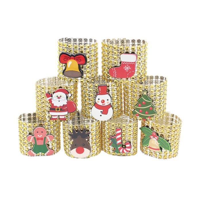 Noël 8 rangées de rond de serviette en diamant Bouton de serviette (doré)