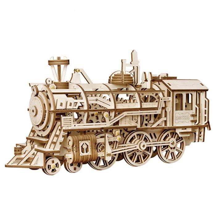 3D en bois Puzzle Train modèle mécanique engrenage entraînement Locomotive assemblage modèle Kit de construction jouets pour enfants