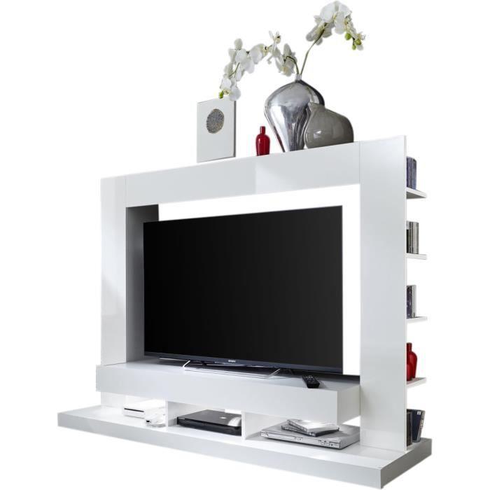 Ensemble meuble TV coloris blanc en panneaux de particules mélaminés L. 170 x P. 46 x H. 124 cm collection Motionless Blanc