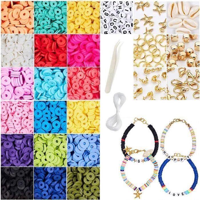 JuinJour 4274PCS Kit de perles Heishi Perle Perle Outil Perles et Assortiments Kits de Perles Perles pour Bracelet L Perles A63