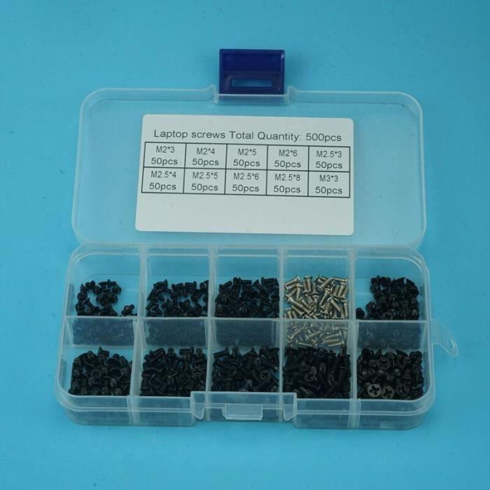 Kit de vis pour ordinateur portable, 500 pièces, M2 M2, 5 M3 KM, vis Phillips à tête plate, Kit de petites vis [A13E6C2]