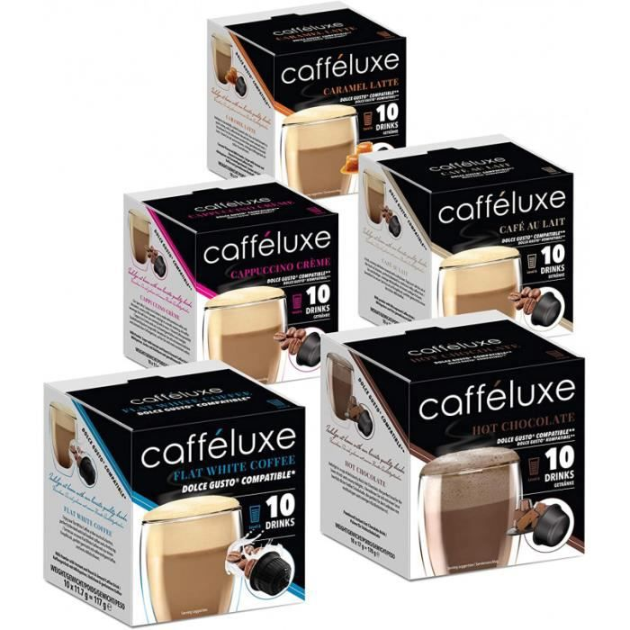 Caffeluxe Café En Dosettes Individuelles De Qualité Supérieure - Blanc Plat, Chocolat Chaud, Crème Au Capuccino - Dosette Compatible