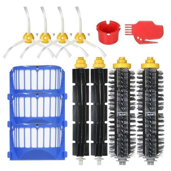 Aspirateur Kit d'Accessoires 14Pcs en Brosses Flexibles Filtres Brosses Latérales Nettoyage Outils pour iRobot Roomba 600 Séries