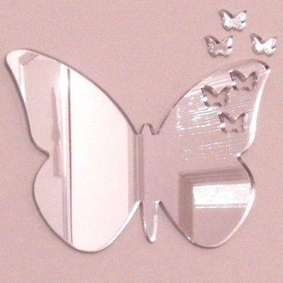 Papillons de Papillon Miroir 12cm x 8cm + 3 mini