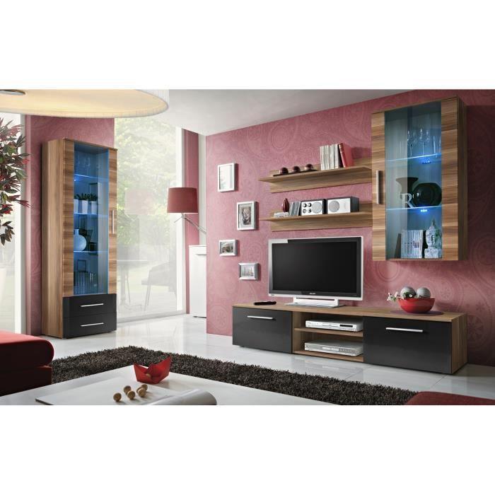 PRICE FACTORY - Meuble TV GALINO F design, coloris prunier et noir. Meuble moderne et tendance pour votre salon.