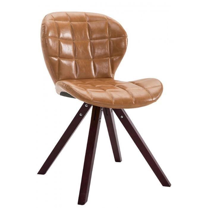 Magnifique Chaise visiteur reference Saint-Georges cuir synthetique carre cappuccino (chene) couleur brun clair