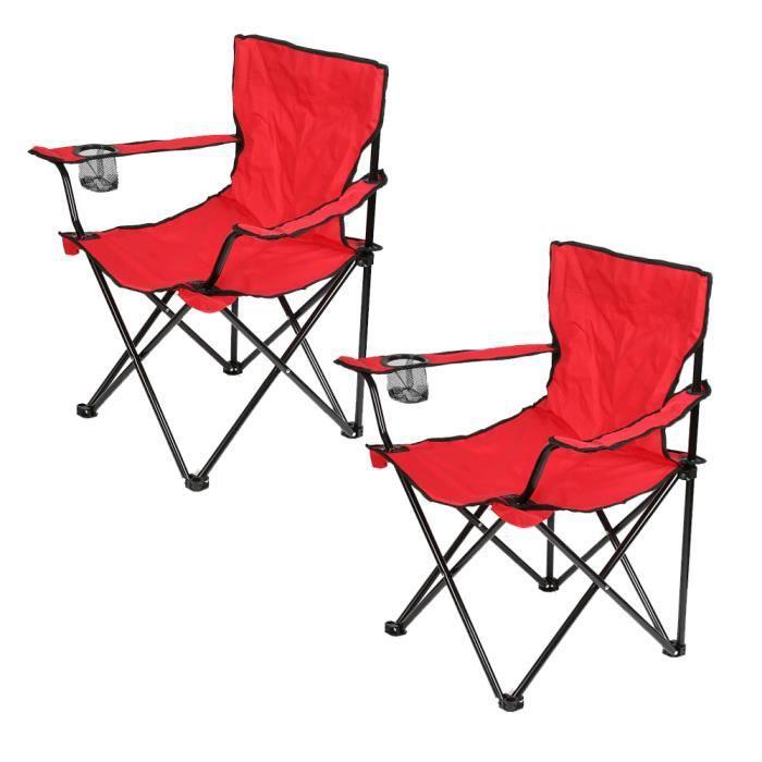 YIS Lot de 2 Chaise de Camping Fauteuil Pliante pour Camping Randonnée Pique-Nique Pêche Plage Jardin - Acier et Oxford - Rouge