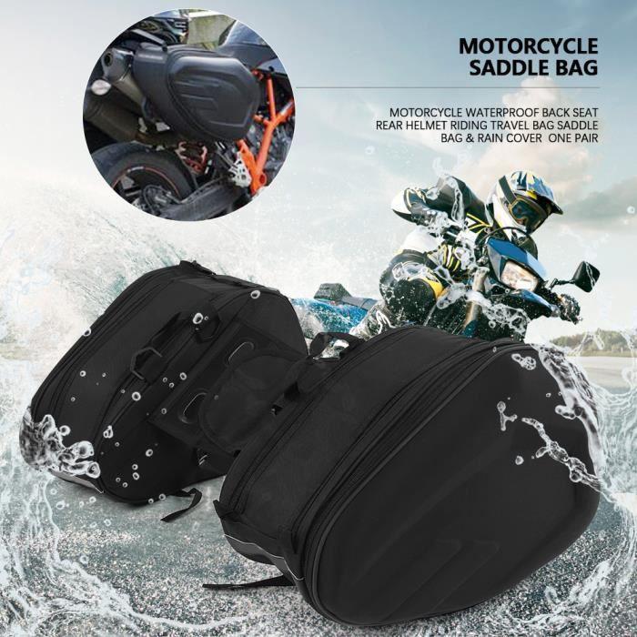 Universel Sacoche Moto Engrenages en Cuir Housse étanche pour Moto Arrière Selle -OLL HB069
