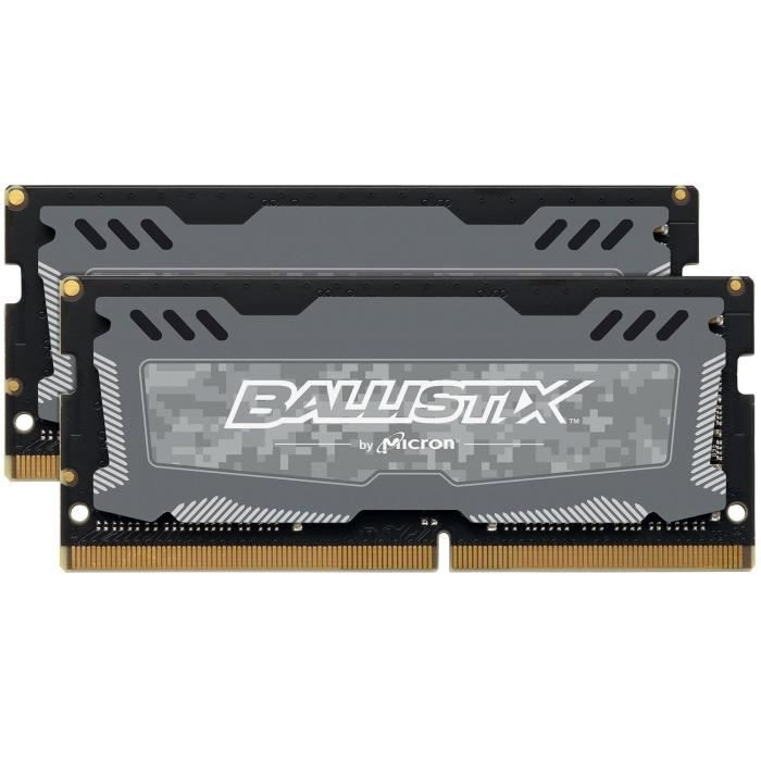 BALLISTIX Mémoire 16GB Kit (8GBx2) DDR4 2666 MT/s (PC4-21300) CL16 SR x8 Unbuffered SODIMM 260pin (BLS2K8G4S26BFSDK)