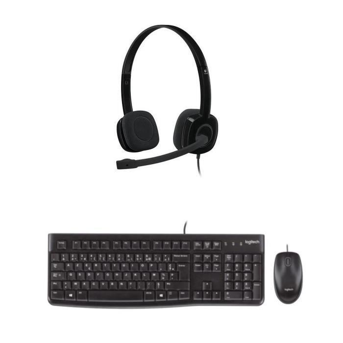LOGITECH - Pack clavier souris filaire MK120 + casque H151