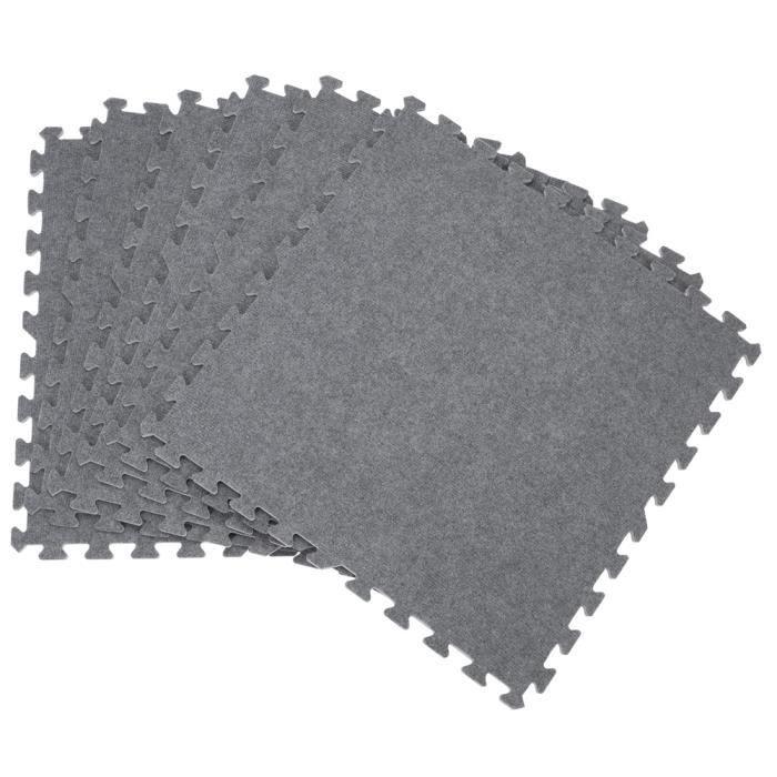 Tapis puzzle aspect moquette grise - 6 pièces enfant tapis mousse EVA salon chambre tpais fitness musculation yoga protection sol