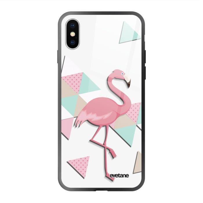 Coque en verre trempé iPhone Xs Max noir Flamant Rose Graphique Ecriture Tendance et Design Evetane