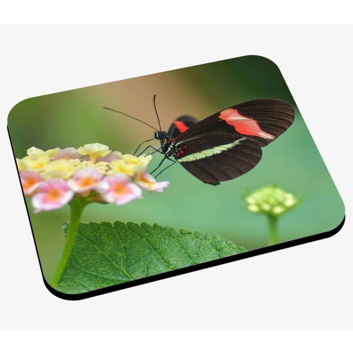 Tapis de Souris Papillon Noir Rouge et Vert Anis sur Fleurs Jaunes et Roses Nature Animaux