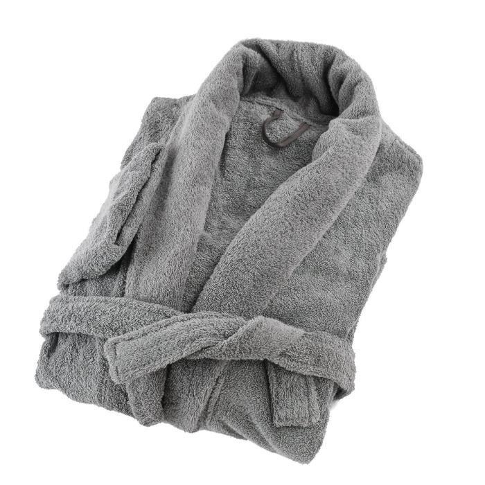 LINANDELLE - Peignoir coton éponge col chale PREMIUM - Gris souris - Adulte Homme - 7XL