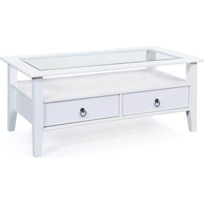 Table basse Provence avec plateau en verre de sécurité et 2 tiroirs, réalisée en pin massif.