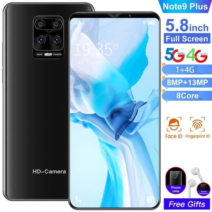 NOTE9 Smartphone Android 5.8- grand écran 1G + 4G - double SIM carte - Face ID + Empreintes Digitales - noir