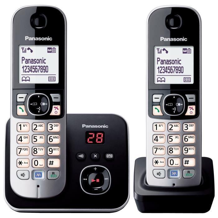 Panasonic KX-TG6822 Duo Téléphones Sans fil Répondeur Noir Gris