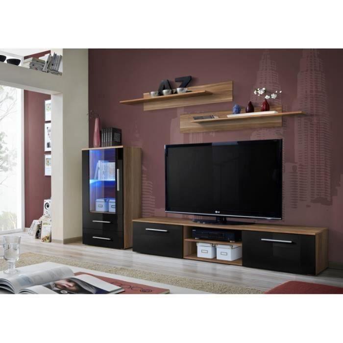 Meuble TV GALINO H design, coloris prunier et noir brillant. Meuble moderne et tendance pour votre salon. 37 Noir