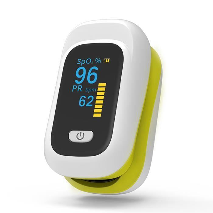 Oxymètre du bout des doigts Portable Oxygène sanguin Saturation Pulse Rate avec OLED Écran pour la maison - JAUNE