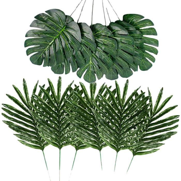 24 Pcs 2 Types Plante Tropicale Feuilles De Palmier Artificielles Feuilles De Faux Feuilles Feuilles Safari Feuilles Hawaii Tortue