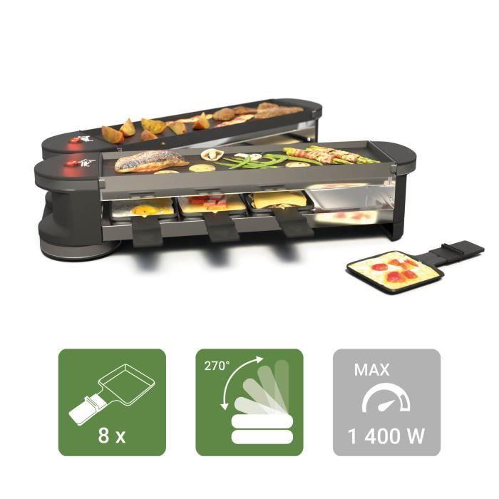 SUNTEC Raclette RAC-8151 Flex 8 metal/metal [pour 8 personnes, 2x plaque de grillade, l'appareil replie/déplie (rotation à 180°)]