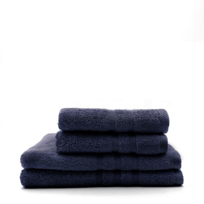 TODAY Lot de 2 Serviettes 50 x 100 cm + 2 Draps de bain 70 x 130 cm - 100% Coton - Ciel d'orage