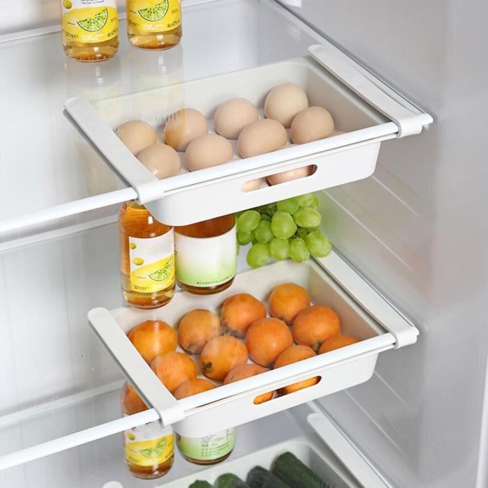 Panier de rangement pour réfrigérateur, tiroir extractible,réglable pour le rangement