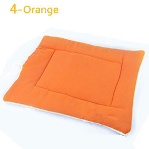 Chien Chat Chiot Lavable Chaud Fluffy Fleece Tapis Pour Animaux Kennel Cage Pad Coussin Orange M