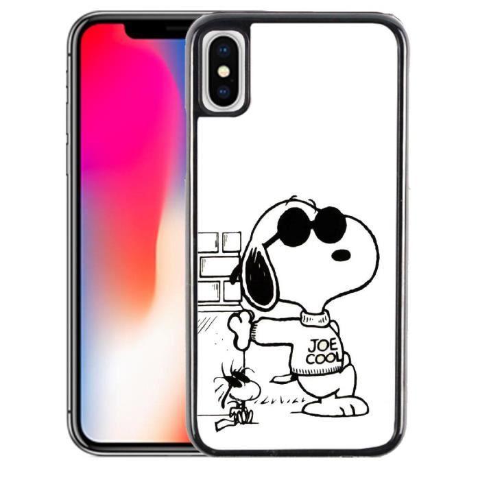 Coque iPhone X Snoopy noir & blanc