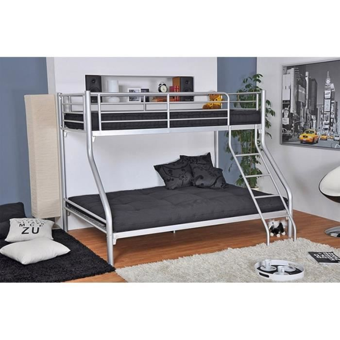 lit superpos 3 places gris achat vente lits superpos s lit superpos 3 places gris cdiscount. Black Bedroom Furniture Sets. Home Design Ideas