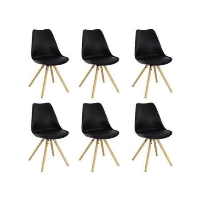 CHAISE Chaise Design Scandinave MALMO Lot De 6 Noir