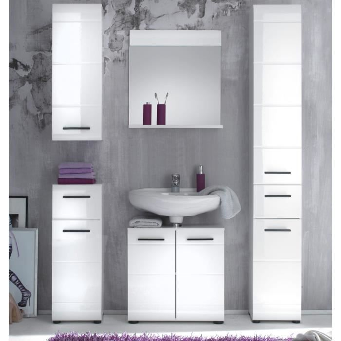 meuble haut salle de de bain skin blanc brilliant achat vente armoire de toilette meuble. Black Bedroom Furniture Sets. Home Design Ideas