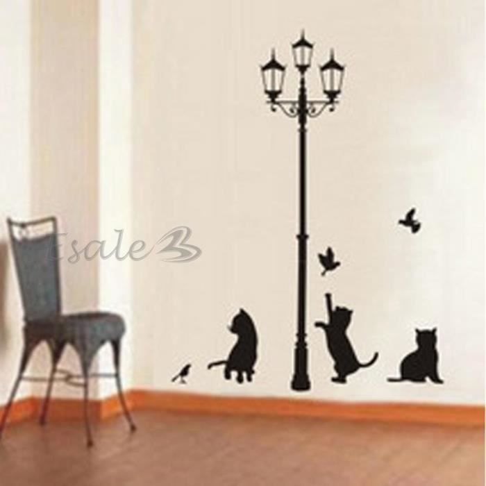 Sticker autocollant mural chats lampe de route d co mur for Auto collant mural