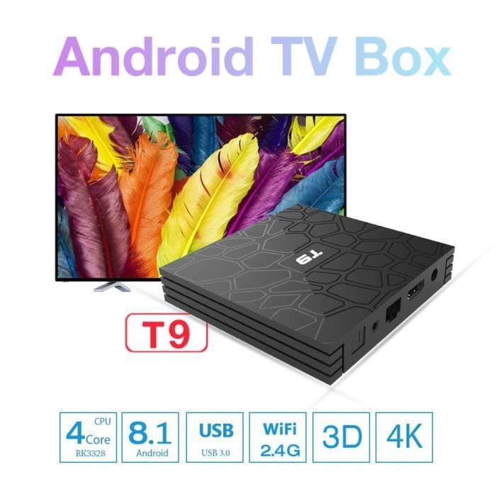 BOX MULTIMEDIA T9 TV Smart Box Android 8.1 4G+32G, Boitier Androi