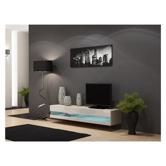 meuble tv design suspendu larmo new bois et blanc achat. Black Bedroom Furniture Sets. Home Design Ideas