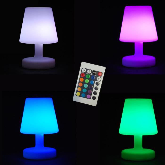 Lampe 26cm multicolore a led avec telecommande 16 couleurs for Lampe exterieur led design