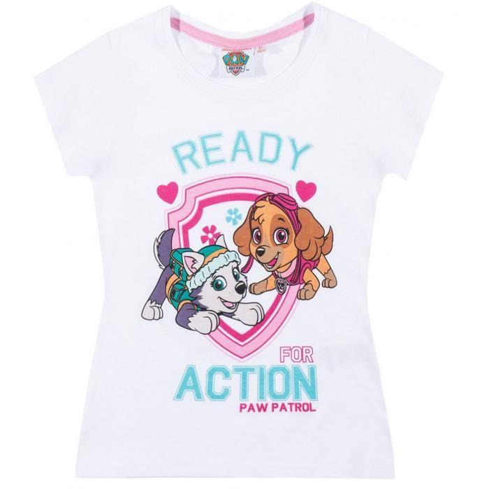 La Pat Patrouille T-Shirt Manches Courtes Enfant Fille Rose de 3 /à 8ans
