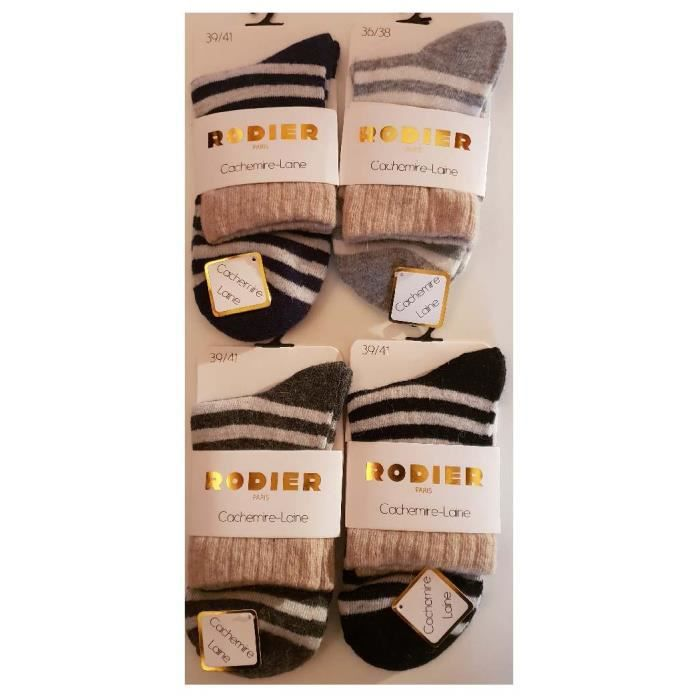 RODIER lot 6 paires de  chaussettes femme cachemire-laine ultra-doux
