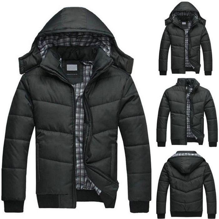 Hommes Puffer Pour Veste Manteau D'hiver Outwear Rembourré Pardessus Capuche Noire Noir Réchauffez Xxxl Avec edxCBo