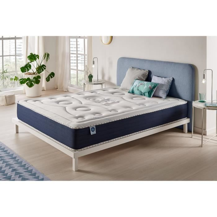 matelas sensogel 140x190 cm 7 zones blue latex m moire 25 cm achat vente matelas cdiscount. Black Bedroom Furniture Sets. Home Design Ideas
